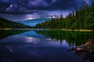 First Lake, located in Valley of the Five Lakes in Alberta. Shot in May 2014.