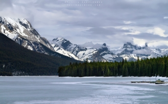 A frozen Maligne Lake in Alberta, Canada. Shot in May 2014.
