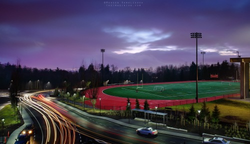 Multiple exposure composite, shot at SFU's Burnaby campus.