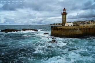Farol de Felgueiras (Lighthouse Lady of Light) in Porto, Portugal. Shot in October 2012.