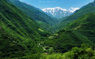 Shot from Road 2000 in the Mazandaran Province of Iran in May 2016. The road begins from sea level (Caspian Sea) and ascends to roughly 2000 meters, hence, the name. This photo was shot looking southeast toward the villages of Naras, Esel Mahalleh, and Sardabon, and the 4175-meter tall Sialan peak in the Alborz mountain range.